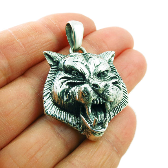 Heavy Hallmarked 925 Sterling Silver Animal Wolf Pendant