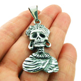 Mexican Day of the Dead 925 Sterling Silver Sugar Skull La Catrina Pendant