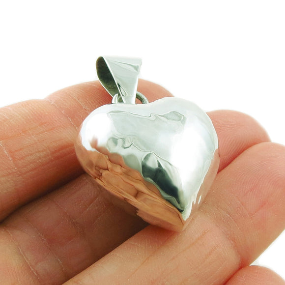 925 Sterling Silver Hammered Love Heart Pendant