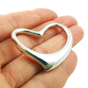 Large Solid 925 Sterling Silver Love Heart Pendant