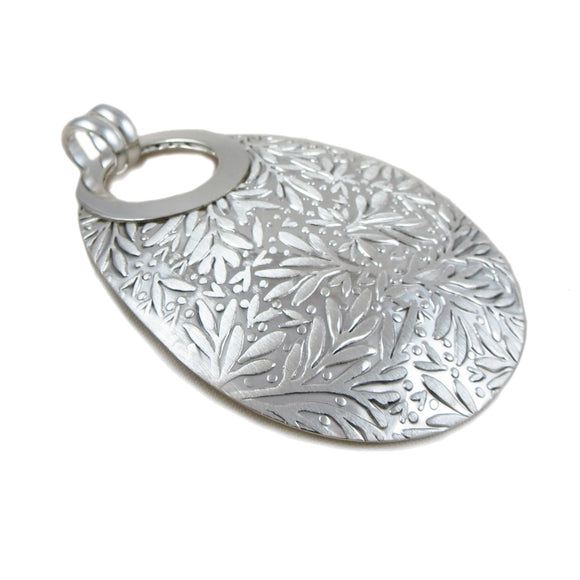 Hallmarked Large 925 Silver Oval Drop Pendant Gift Boxed
