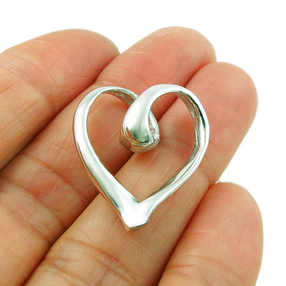 Love Heart 925 Silver Curved Design Pendant