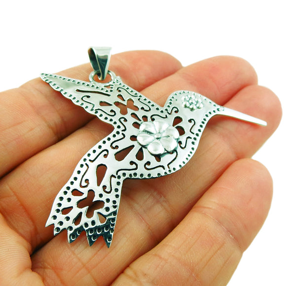 Large Hummingbird 925 Sterling Silver Pendant Gift Boxed