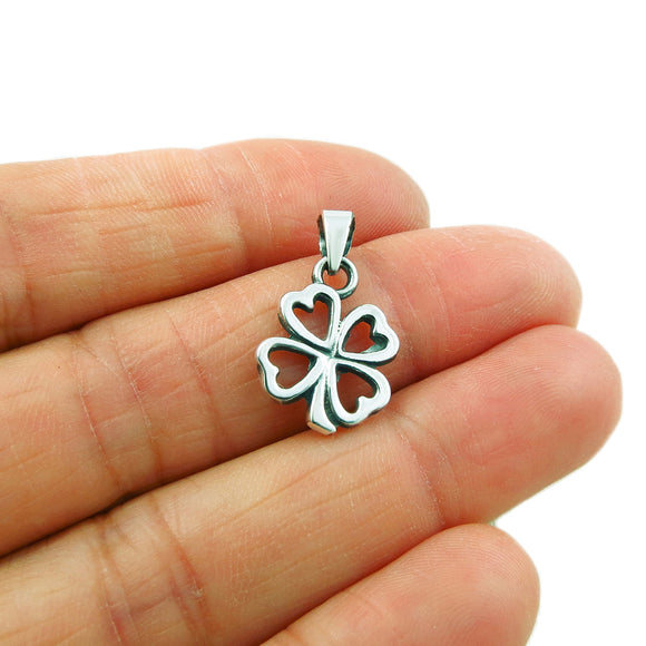 Four Leaf Clover 925 Silver Drop Pendant