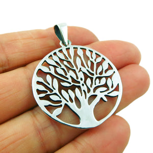 Tree of Life 925 Sterling Silver Circle Pendant in a Gift Box
