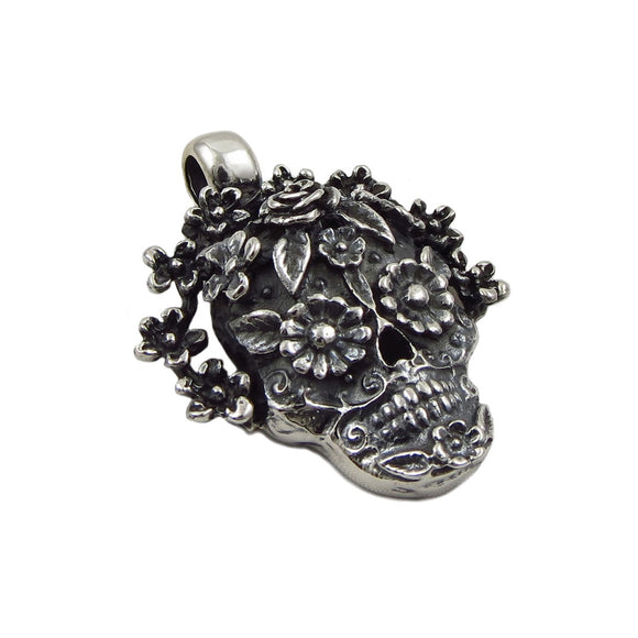 Day of the Dead La Catrina Skull and Flowers 925 Sterling Silver Pendant