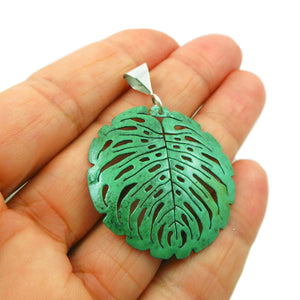 Green Copper and 925 Silver Large Leaf Pendant