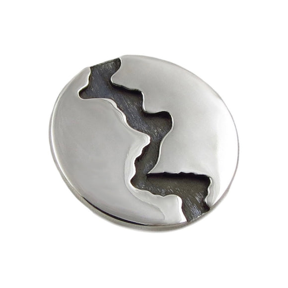 River Solid 925 Sterling Silver Alon Diller Design Circle Pendant