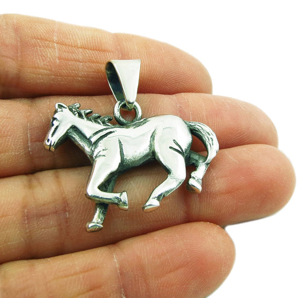 Galloping Horse Hallmarked Solid 925 Sterling Silver Pendant
