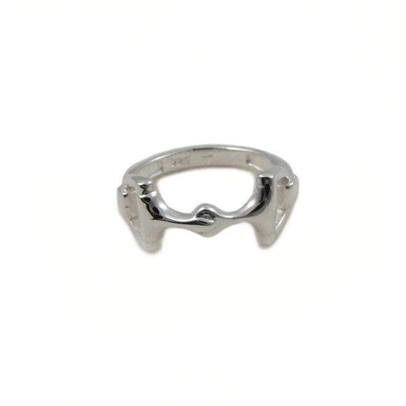 Horse Snaffle 925 Sterling Silver Riding Bit Ring Size P