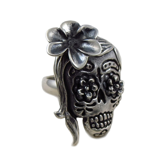 Day of the Dead Sugar Skull 925 Sterling Silver Ring