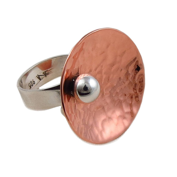 Hammered Copper and 925 Silver Circle Disc and Ball Bead Ring