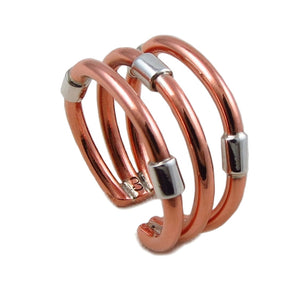 Copper and Silver Triple Band Mixed Metal Ring