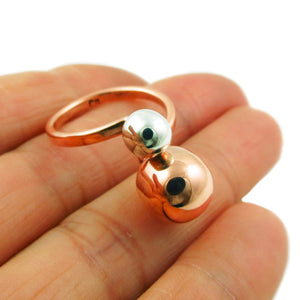 Copper and Silver Ball Bead Ring Adjustable Size