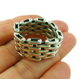Wide Chain Link Hallmarked Sterling 925 Silver Band Ring