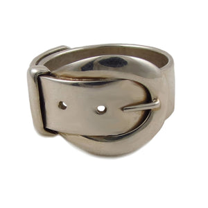 Wide Belt and Buckle 925 Sterling Silver Ring