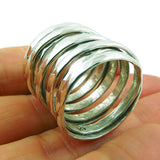 Large Hallmarked 925 Sterling Silver Spiral Wrap Ring UK Size O