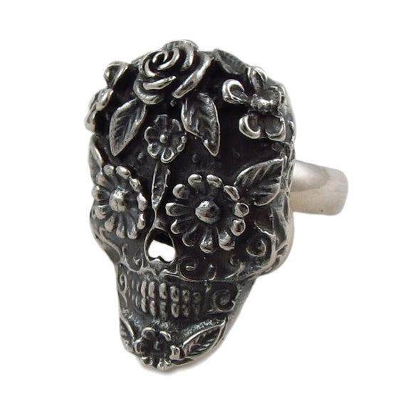Mexican Day of the Dead Skull with Flowers 925 Sterling Silver Ring