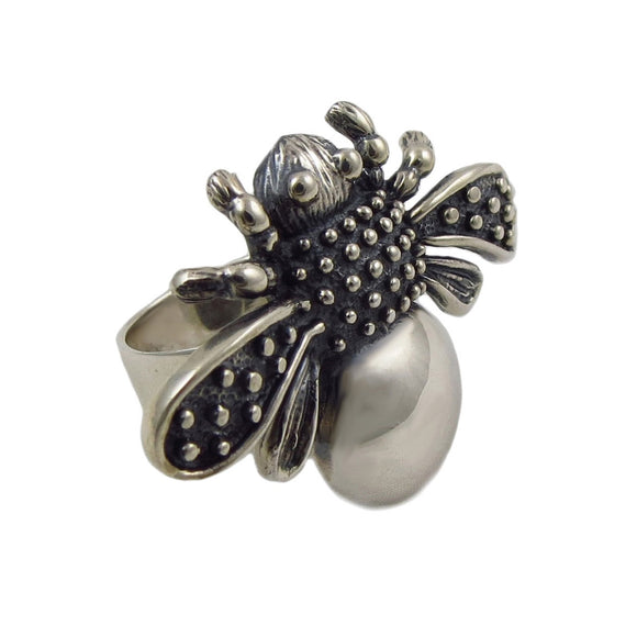 Large Bee Hallmarked Sterling Silver Cocktail Ring