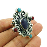Large 925 Sterling Silver and Gemstone Scrollwork Ring