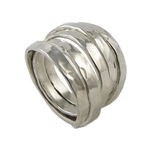 Large Hallmarked 925 Sterling Silver Spiral Wrap Ring UK Size N