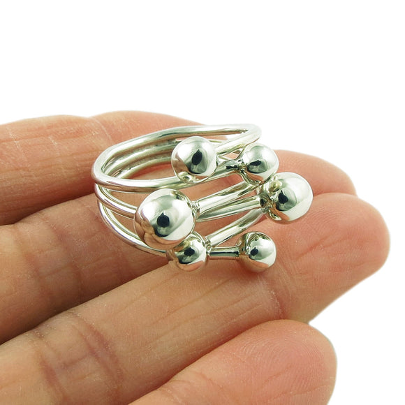Ball Bead Cluster 925 Sterling Silver Wide Ring Gift Boxed