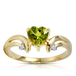 1.26 Carat 14K Solid Gold Ring Diamond Peridot