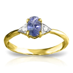 14K Solid Gold RING WITH DIAMONDS & TANZANITE