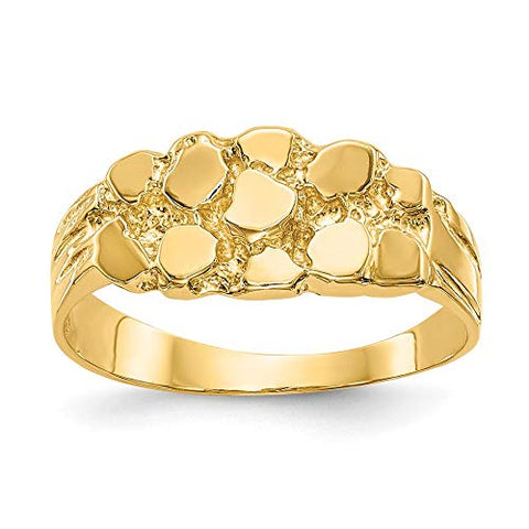 14k Yellow Gold Nugget Band Ring Size 6.00 Fine Jewelry For Women Gifts For Her