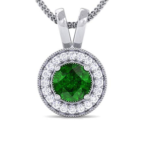 Diamond Pendants 1/2 cttw Certified Natural Diamond & Emerald Halo Necklace Pendant in 14 K Solid Gold Trending Designs (IJ color, SI clarity)