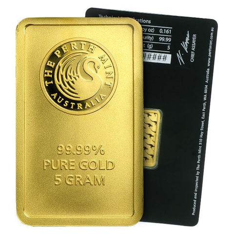 5 GRAM GOLD PERTH BAR .9999% GENUINE GOLD