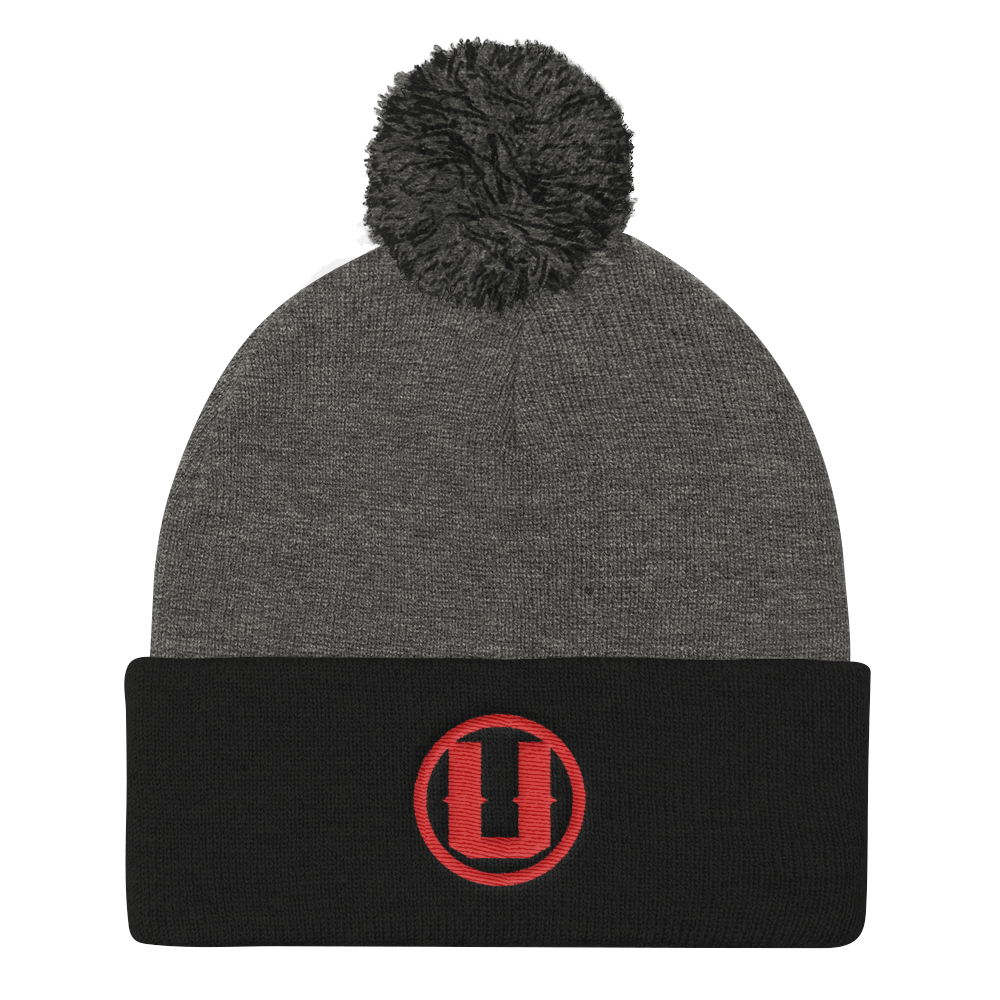 UnderRated Logo Beanie Red Font