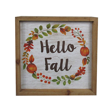 Hello Fall Sign: MDF, 7.88 x 7.88 inches - The Weathered Loft LLC