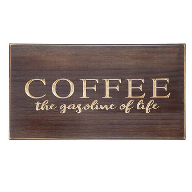 Coffee Wooden Wall Plaque: 18 x 10 inches