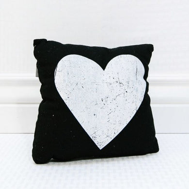 -$$ Black & White Heart Pillow - The Weathered Loft LLC