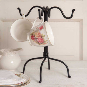 ~ * Four Hook Mug Rack - Black
