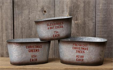 Sleigh, Christmas, Trees Metal Tins