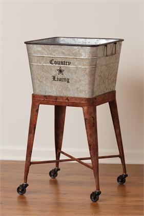 Country Living Tin Washtub on wheels