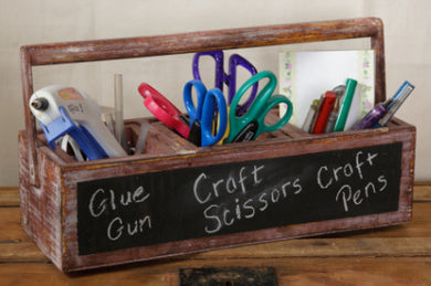 ~ * Chalkboard Front Wooden Tool Box Planter