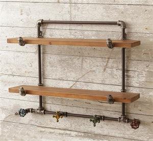 Pipe Style 4 Faucet Hooks Shelf