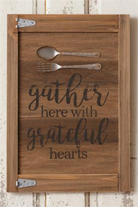 Gather Here With Grateful Hearts Fork, Spoon Sign - The Weathered Loft LLC