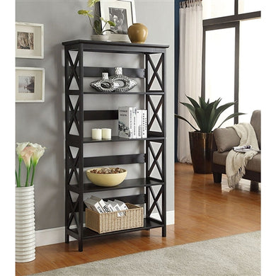 Glossy Black 5-Shelf Bookcase - The Weathered Loft LLC