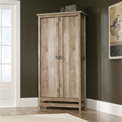 Cottage Style Wardrobe Armoire Storage Cabinet in Light Oak Wood Finish - The Weathered Loft LLC