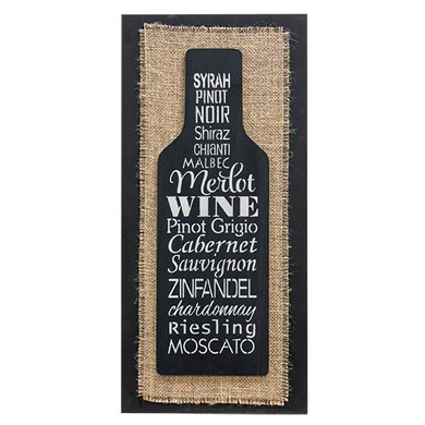 Burlap Wine Bottle Box Sign