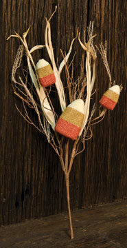 Burlap Candy Corn Pick - The Weathered Loft LLC