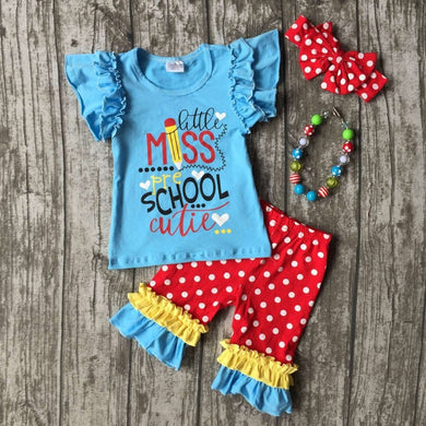 little miss pre school cutie capri pant with outfit with accessories
