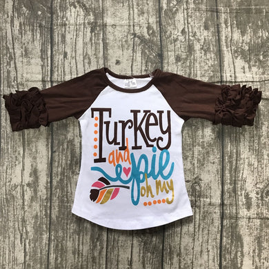 Girls Turkey & Pie ruffle top