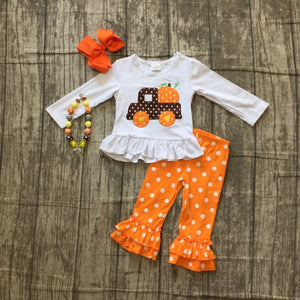 Girls fall truck pant outfit with accessories