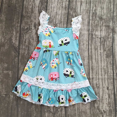 Girls Vintage Camper Pattern Dress