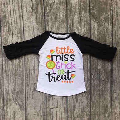 Little Miss Trick Or Treat Halloween top 3/4 ruffle girls top